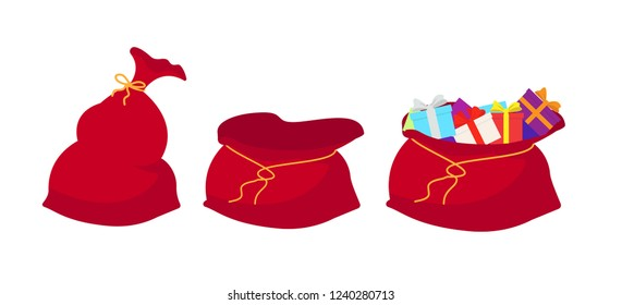Red bag Santa Claus set. Large sack holiday for gifts. Big bagful for new year and Christmas. Vector illsutration