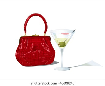 Red bag and unfinished martini glass