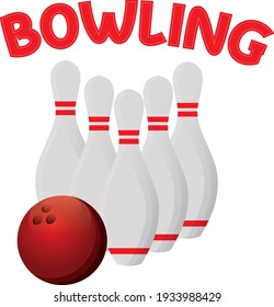 Red ball and five white pins.Ready for Bowling.