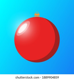 Red ball on blue gradient background