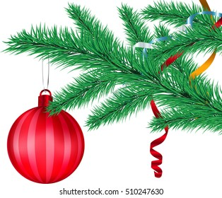 Red ball on fir branch white background
