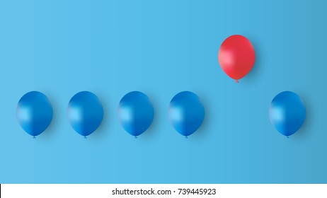 Red balloon fly away from blue balloon on blue background, different concept design, vector illustration