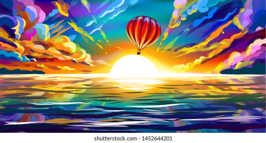 Red Balloon flying at sunset over the sea. Color artistic image of a beautiful sunset, a flying balloon and the sea.