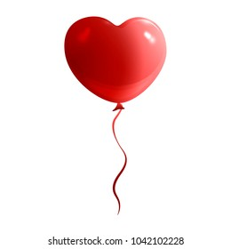 red balloon in the form of a heart holiday isolated