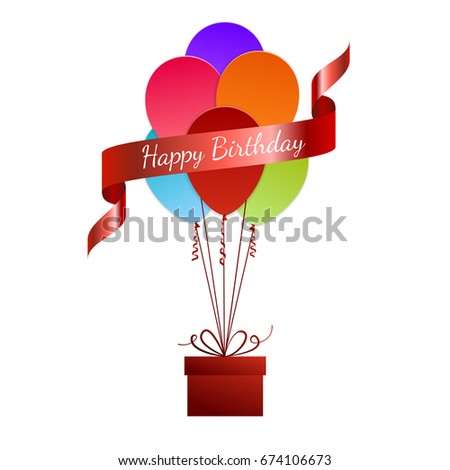 Red Balloon With Gift Box Happy Birthday Greeting Card Paper Art Vector Illustration