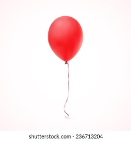 Red balloon icon isolated on white  background. Vector illustration