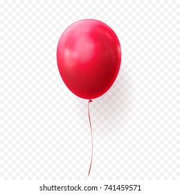Red balloon vector illustration on transparent background. Glossy realistic baloon for Birthday or Halloween party.