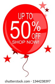 A red balloon with the words Up to 50% off shop now written on it.