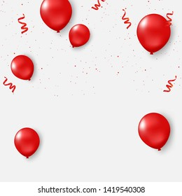 Red balloons, confetti concept design template Happy Valentine's Day, background Celebration Vector illustration.