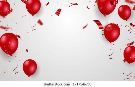 Red balloons confetti concept design Celebration Vector illustration.