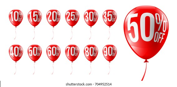 Red Balloons Discounts for Retail,Shopping,Sale or Promotion concept.Set of Balloon 10%, 15%, 20%, 25%, 30%, 35%, 40%, 50%, 60%, 70%, 80% and 90% Discounts Isolate on white background