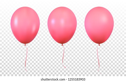 Red balloons. Set of realistic helium balloons for Birthday.