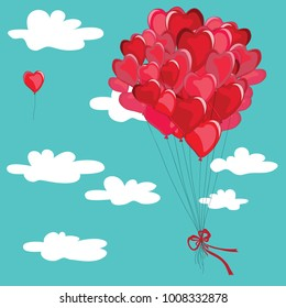 Red balloons in the shape of hearts flying in the sky among the clouds. One balloon alone flying apart. Vector illustration on light blue background.
