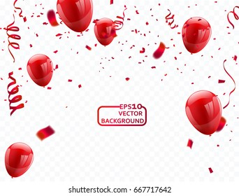 red balloons, vector illustration. Confetti and ribbons, Celebration background template with.