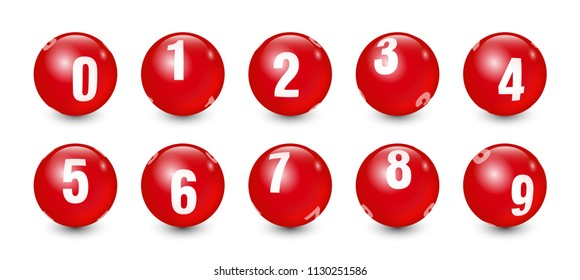 Red Balls Set with White Text Number 0 to 9