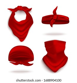 Red bandana on neck and head set, realistic vector illustration mockup isolated on white background. Youth fashion neck scarf or cowboy garment element template.