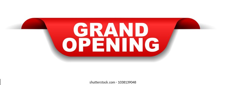red banner grand opening