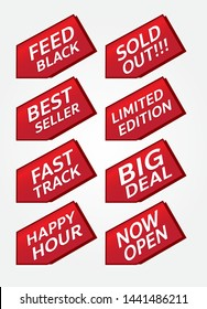 red banner promotion tag design for marketing on set