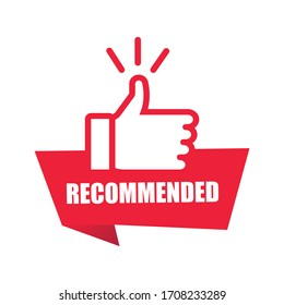 Red banner recommended with thumbs up. Sticker ribbon thumb up on white background. Vector illustration EPS10.