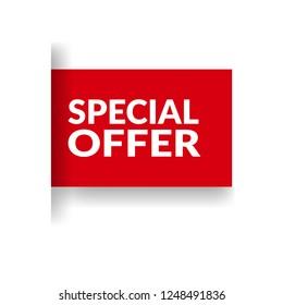 Red banner with text special offer.special offer emblem, label, badge,sticker, logo. Designed for your web site design, logo, app, UI