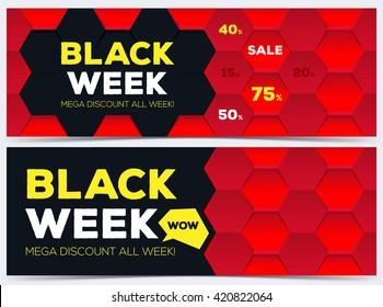 Red banners for Black Week sale. Vector illustration.