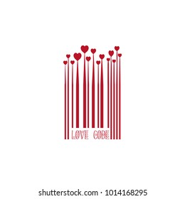Red Bar Code with Heart Shapes for Valentines Day Love Design Monochrome Growing Hearts, Barcode Lines, Valentine Holiday Sign Isolated on White Background