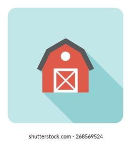 Red barn farm flat icon. Vector illustration.