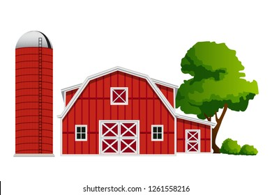 Red Barn And Silo graphic vector