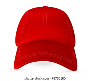 Red baseball cap template. Mesh & gradients only.
