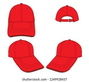 Red Baseball Cap Vector  : Ripped Rim