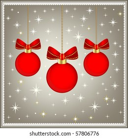 Red baubles with stars and bows