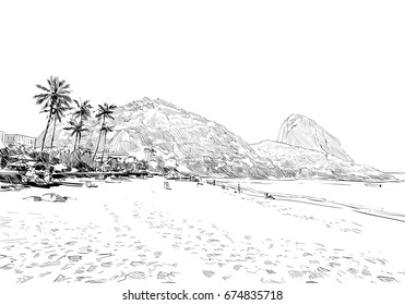 Red Beach. Rio de janeiro. Brazil. Hand drawn city sketch. Vector illustration.