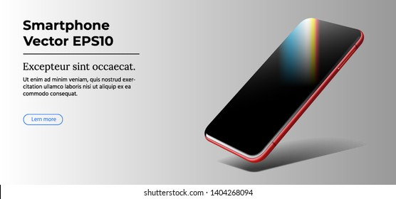 Red Beautiful Modern Smart Phone Cast Shadow on Grey Gradient Background. Perspective view. Realistic Vector. Smartphone with Touchscreen Mockup. Template of Mobile Phone for Mobile Apps.