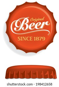 Red Beer Bottle Cap, Lid, Top or Crown, with white Beer script. Overhead and side view. Drawn with mesh tool. Fully adjustable & scalable.