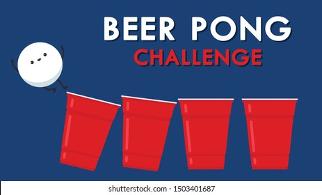 Red beer cup character design. ball character. Beer cup vector. Beer pong poster design. ping pong ball vector.