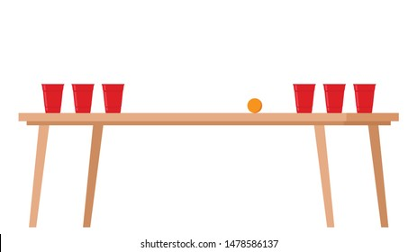 Red beer cup vector. beer cup on the table. beer pong vector.