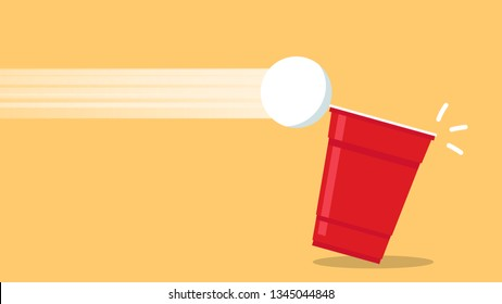 Red beer cup vector. Beer pong poster design. wallpaper. free space for text. copy space.