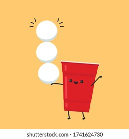 Red beer cup vector. Beer pong poster design. free space for text. copy space. red beer mascot.