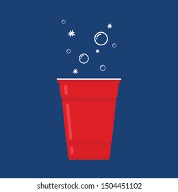 Red beer cup. Cup vector. symbol. free space for text. wallpaper.