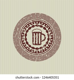 Red beer jar icon inside rubber stamp with grunge texture
