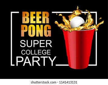 Red Beer Pong plastic cups with ball. Traditional drinking game vector illustration.