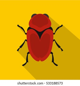 Red beetle icon. Flat illustration of red beetle vector icon for web