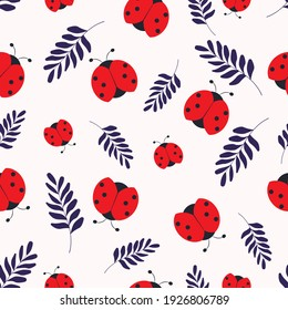 Red beetles seamless pattern. Cartoon ladybug with blue leaves on a white background. Modern summer design of the cover, packaging, stationery. Abstract vector illustration of insects.