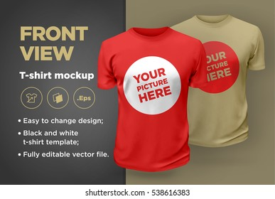 Red and beige men's t-shirt realistic mockup. Vector illustration