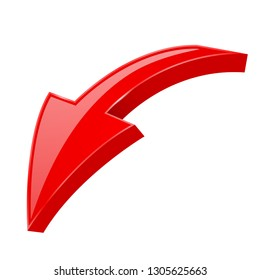 Red bent DOWN arrow. 3d web icon. Vector illustration isolated on white background