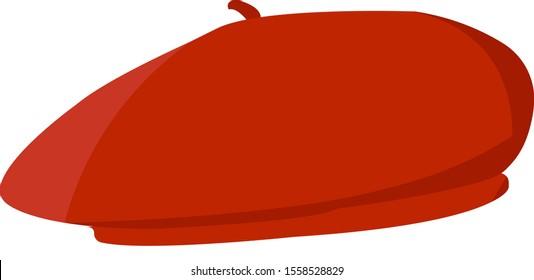 Red beret, illustration, vector on white background.