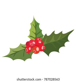 Red berries are holly. Cartoon Christmas flower. Vector illustration of a blooming plant on a white background.