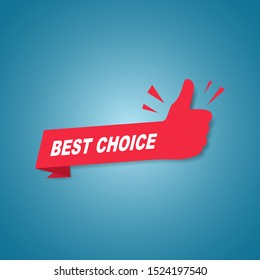 Red best choice label or sign with text and icon endorsing or praising a product or service, vector illustration