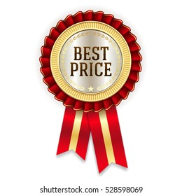 Red best price badge / rosette with gold border on white background
