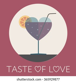 Red Beverage with Bubbles in Wine Glass in Shape Of Heart, Taste of Love, Concept Flat Vector Illustration